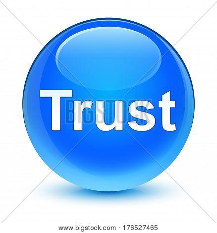 Trust Glassy Cyan Blue Round Button