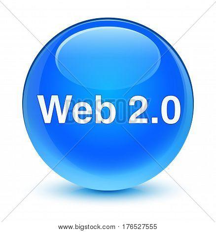 Web 2.0 Glassy Cyan Blue Round Button