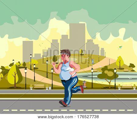 fat man running through the city park in sportswear.