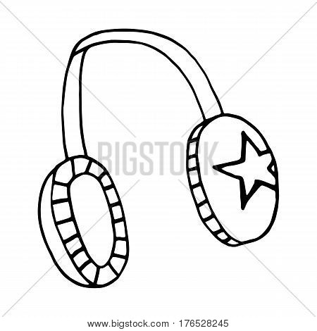 Sketch headphone hip-hop. Vector isolated image. The concept of street art. It can be used as prints, posters, printed materials, videos, mobile apps, web sites and print projects.