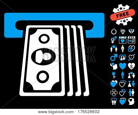 Cashpoint Terminal pictograph with bonus romantic icon set. Vector illustration style is flat iconic symbols on white background.