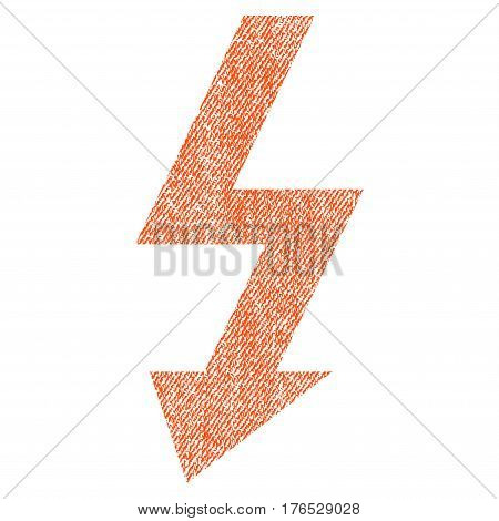 High Voltage vector textured icon for overlay watermark stamps. Fabric orange vectorized texture. Symbol with scratched design. Rubber seal stamp with fiber textile structure.