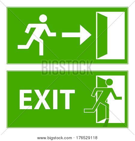 Sign evacuation exit. Flat design vector illustration vector.