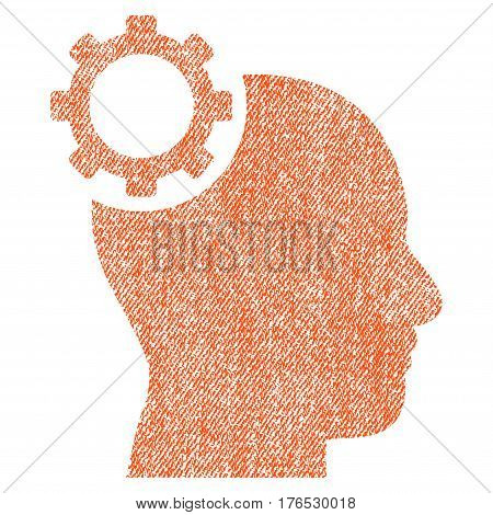 Intellect Gear vector textured icon for overlay watermark stamps. Fabric orange vectorized texture. Symbol with unclean design. Rubber seal stamp with fiber textile structure.