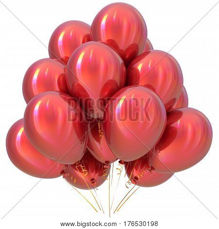 Red balloons happy birthday party decoration scarlet glossy.  3D illustration isolated