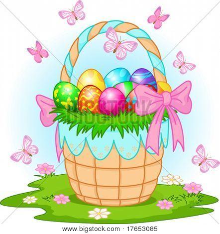 Beau panier de Pâques avec des oeufs colorés sur le pré
