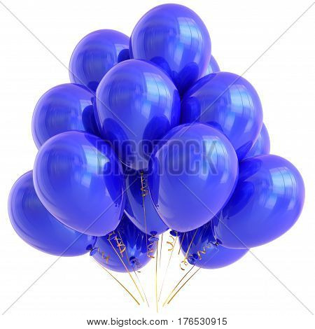 Blue party balloons happy birthday decoration cyan glossy.  3D illustration isolated