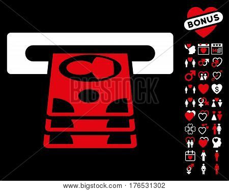 Cashpoint pictograph with bonus marriage pictures. Vector illustration style is flat iconic symbols on white background.
