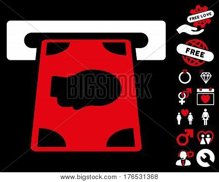 Cashpoint pictograph with bonus passion images. Vector illustration style is flat iconic symbols on white background.