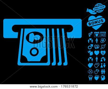 ATM Insert Cash pictograph with bonus marriage icon set. Vector illustration style is flat iconic symbols on white background.