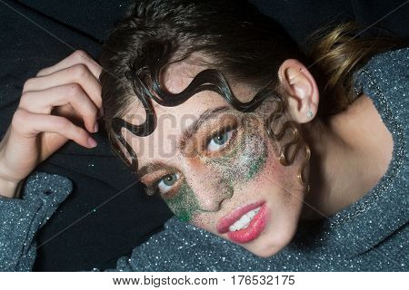 Pretty Fashion Girl With Holiday Glitter Makeup