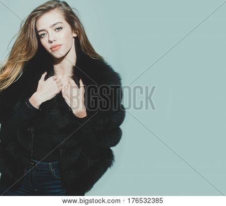 Pretty Sexy Woman Or Girl With Long Hair In Fur