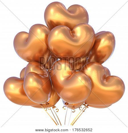 Balloons golden heart shaped happy birthday event party decoration glossy. 3D illustration