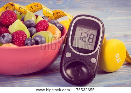 Vintage Photo, Fresh Fruit Salad, Glucometer, Centimeter And Dumbbells, Diabetes, Healthy Lifestyle