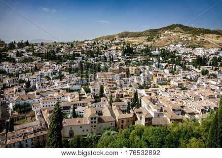 Wide angle view of Albaicin of Granada from Alhambra, Spain