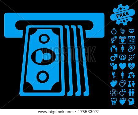 Cashpoint Terminal pictograph with bonus decoration clip art. Vector illustration style is flat iconic symbols on white background.