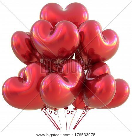 Party heart balloons red happy birthday love event decoration glossy. 3D illustration