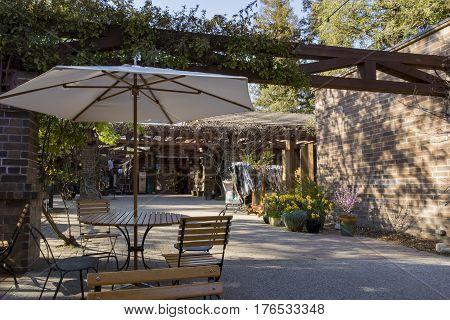 Beautiful table seats in Descanso Garden Los Angeles California