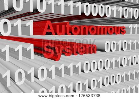 autonomous system in the form of binary code, 3D illustration