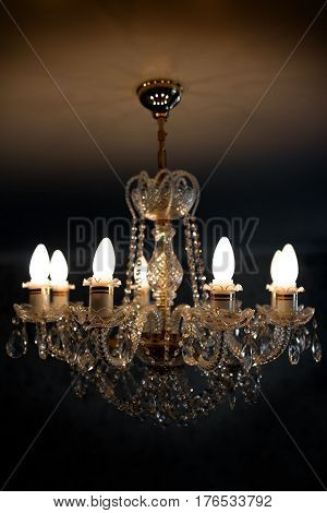 Ceiling lamp chandelier from crystal close up