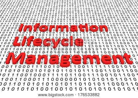 information lifecycle management in the form of binary code, 3D illustration