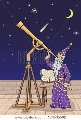 The astronomer observes the night sky through a telescope.