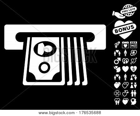 ATM Insert Cash pictograph with bonus valentine pictograms. Vector illustration style is flat iconic symbols on white background.