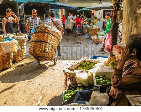 BANGKOK THAILAND - JANUARY 18 2014: Vegetables market or Pak Khlong Talat market. Bangkok, Thailand
