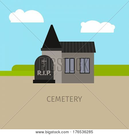 Cemetery colorful building with sign, vector cartoon illustration
