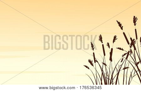 Silhouette of coarse grass landscape vector art