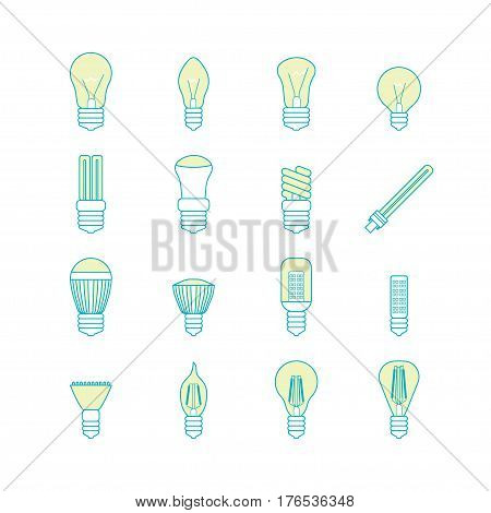 Different Lamp or Light Bulbs Line Icons Set for Web. Vector illustration