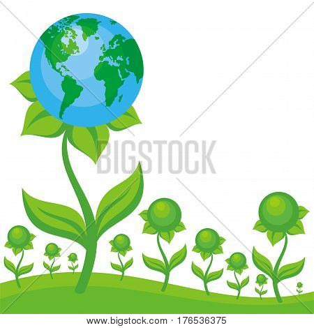 Earth day. Vector background with the image of planet Earth in the form of fantastic flower