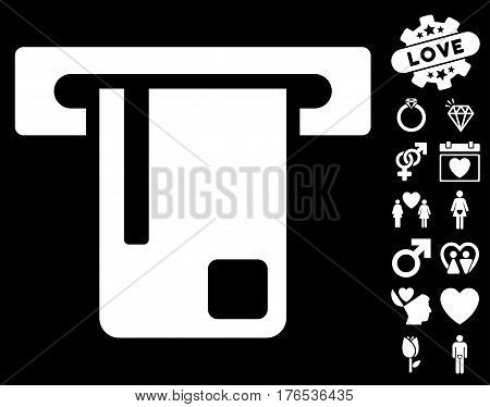 Bank ATM pictograph with bonus amour images. Vector illustration style is flat iconic symbols on white background.