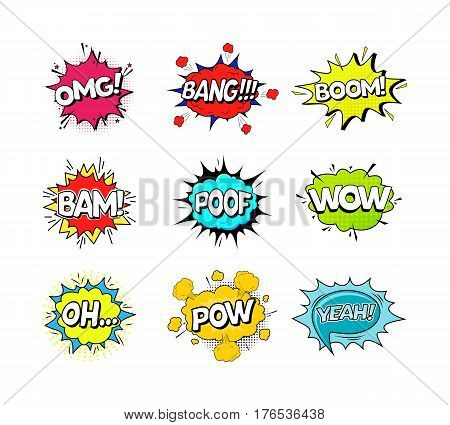 Comic Speach Bubble Effect Set Pop Art Retro Style Web. Vector illustration