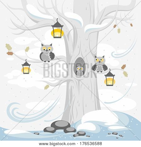 A family of owls on a tree in winter, cute cartoon characters.  Illustration for posters, banners, cards, and other design projects for children