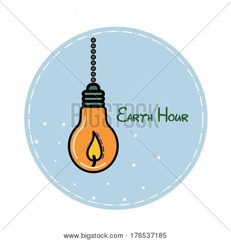 Vector flat illustration devoted to the Earth hour. Candle in the form of a lamp on a blue background in a circle. For postcards, stickers, banners.