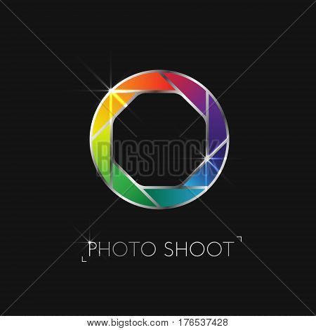 Shining logo with a diaphragm from the camera. Vector illustration.