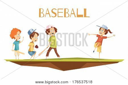 Kids playing baseball flat vector illustration in cartoon style with cute characters engaged in game