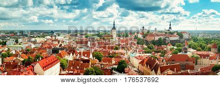 Old Tallinn. Estonia. Panoramic view to toompea buildings from Oleviste church in summer