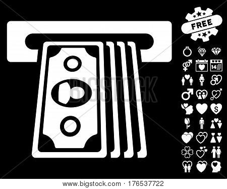 Cashpoint Terminal pictograph with bonus valentine icon set. Vector illustration style is flat iconic symbols on white background.