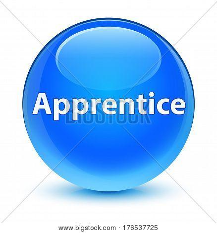 Apprentice Glassy Cyan Blue Round Button