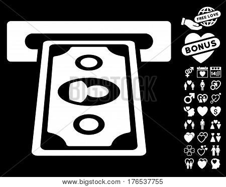 Cashpoint Terminal pictograph with bonus dating design elements. Vector illustration style is flat iconic symbols on white background.