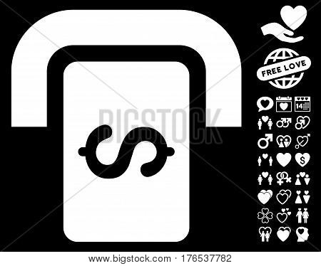 Cashpoint Terminal icon with bonus decorative symbols. Vector illustration style is flat iconic symbols on white background.