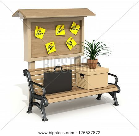 Briefcase, storage box and pot with plant on the park bench with wooden board - 3D illustration