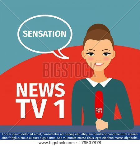 Vector illustration news anchor woman with speech bubble