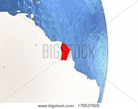 French Guiana On Shiny Globe With Water