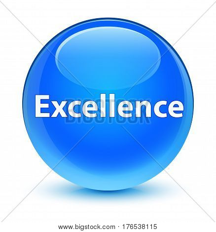 Excellence Glassy Cyan Blue Round Button