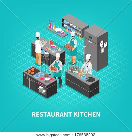 Food court concept with isometric restaurant kitchen furniture and cooks crew faceless characters during cooking process vector illustration