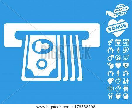 ATM Insert Cash pictograph with bonus decorative symbols. Vector illustration style is flat iconic symbols on white background.