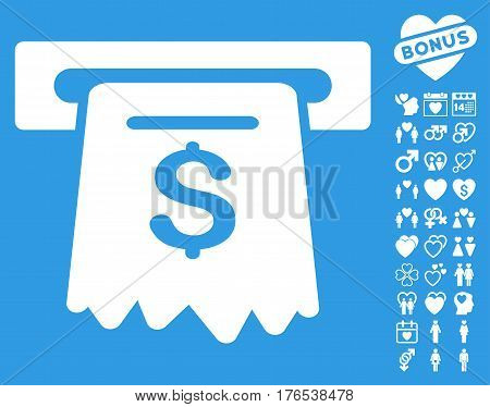 ATM icon with bonus amour pictograms. Vector illustration style is flat iconic symbols on white background.